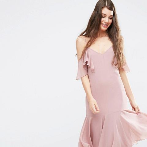 Premium Maxi Dress with Frill Hem and Cold Shoulder