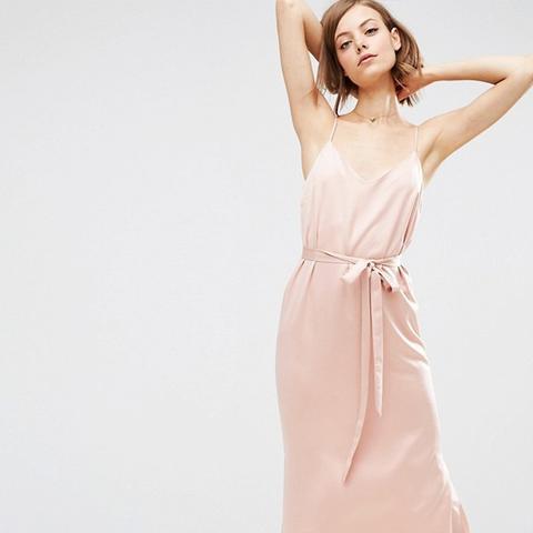 Midi Slip Dress in Satin With Tie Waist