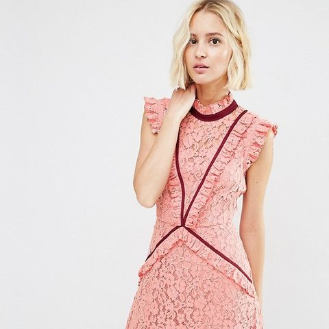 Lace Shift Dress with Ruffle Detail and Contrast Trim