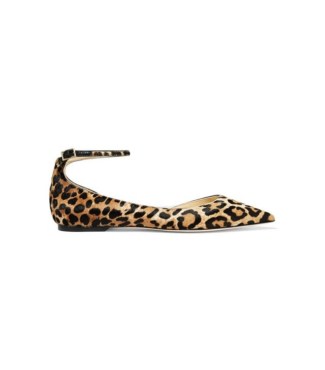 Jimmy Choo Lucy Leopard-Print Calf Hair Pointed-Toe Flats