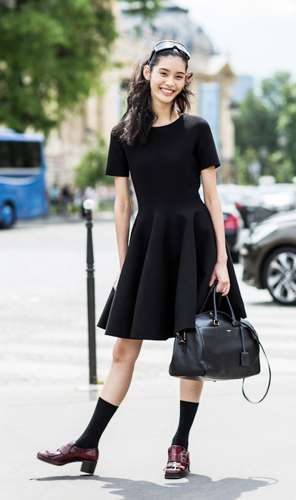7. Dress + Mid-Calf Socks + Oversize Bag