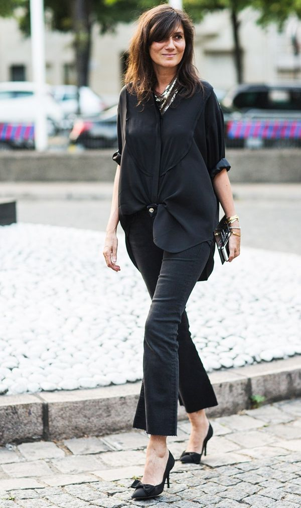 2. Oversize Button-Down + Cropped Flares + Pumps