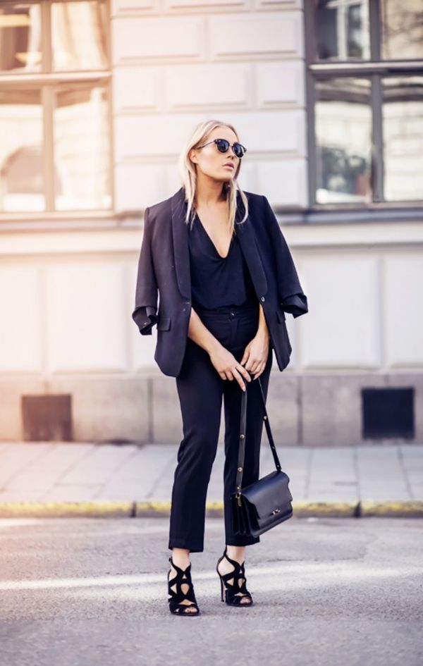 1. Blazer + Blouse + Trousers + Strappy Heels