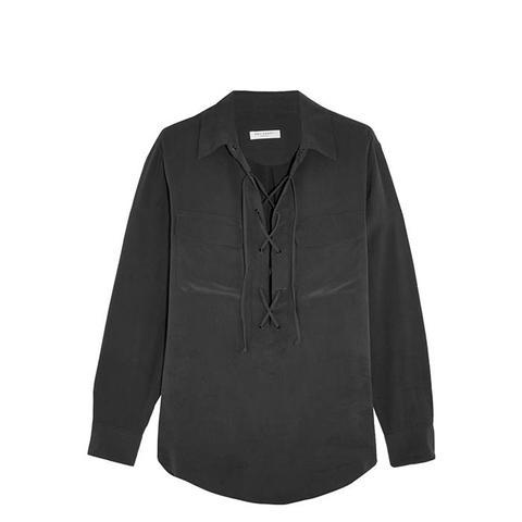 Knox Lace-Up Washed-Silk Shirt