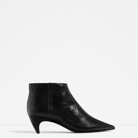 Embossed Leather Low Heel Ankle Boots