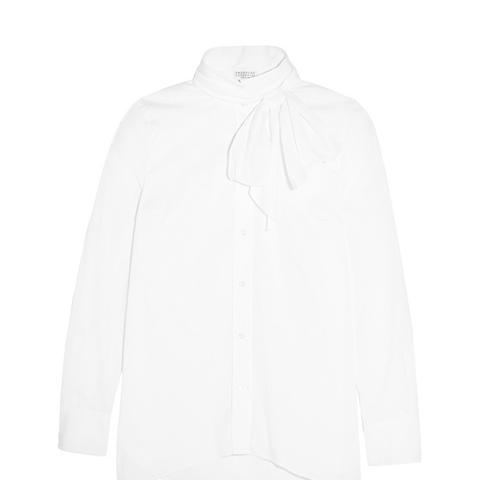 Pussy-Bow Stretch-Cotton Poplin Shirt