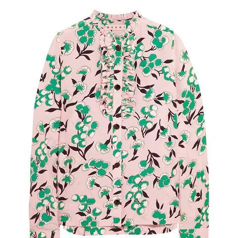 Ruffled Floral-Print Silk Crepe de Chine Shirt