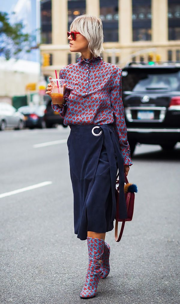 Printed Blouse + Wrap Skirt + Ankle Boots