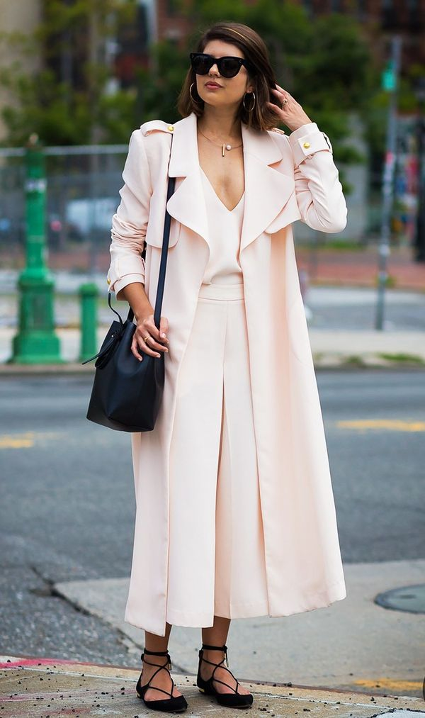 Blazer/Trench + Blouse + Trousers + Pointed Flats