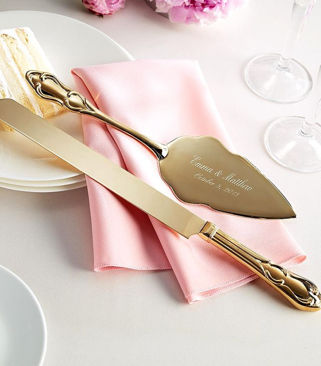 Let's Tie the Knot Custom Engraved Classic Gold Cake Knife and Server