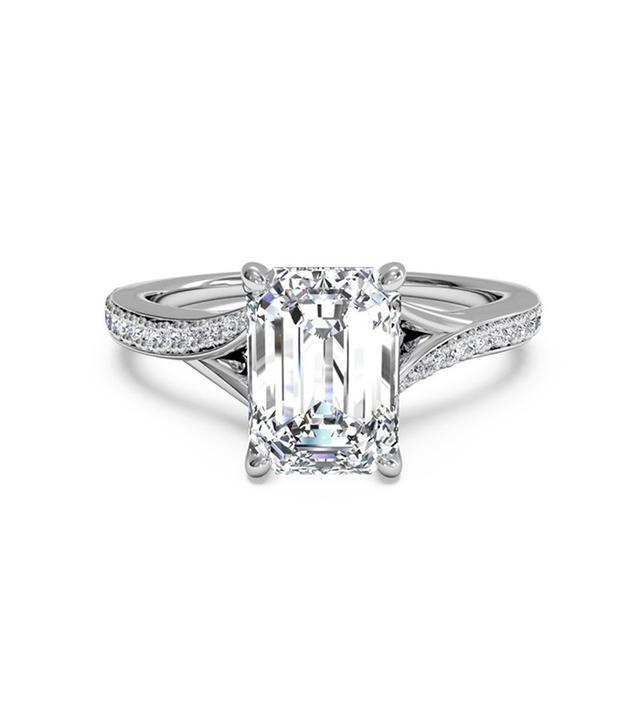 Ritani Modern Bypass Micropavé Diamond Band Engagement Ring