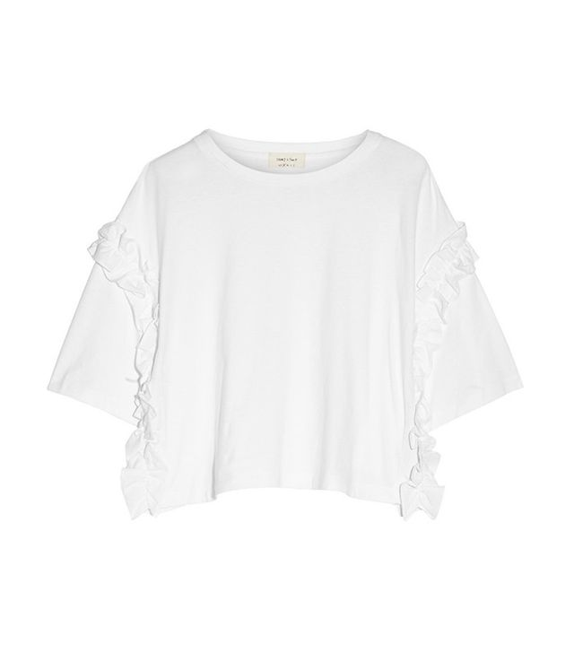Steve J & Yoni P Ruffle-Trimmed Cotton-Jersey T-Shirt