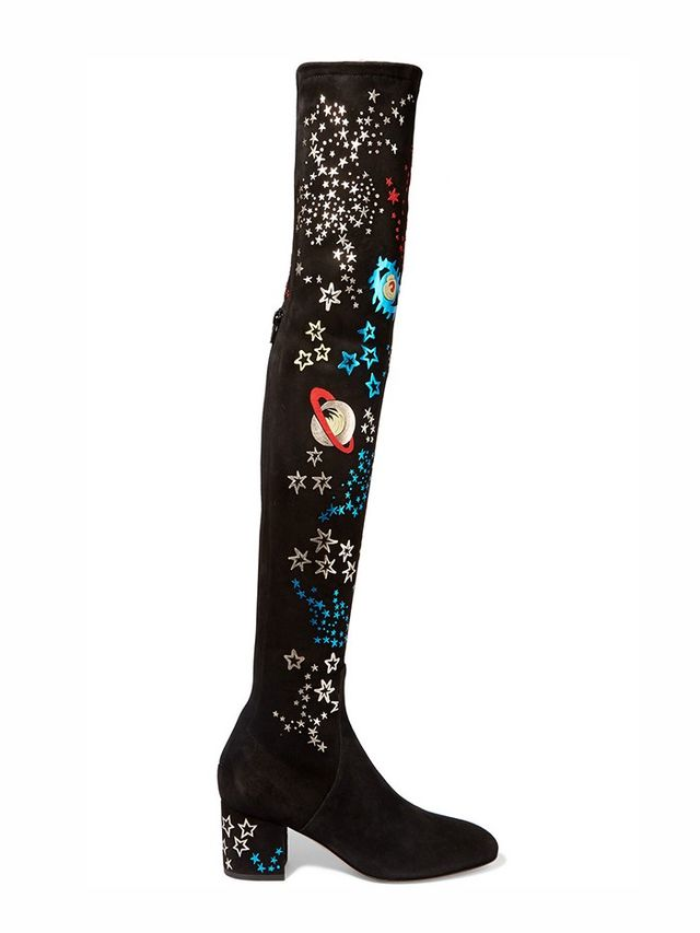 Valentino Metallic Leather-Appliquéd Stretch-Suede Over-the-Knee Boots