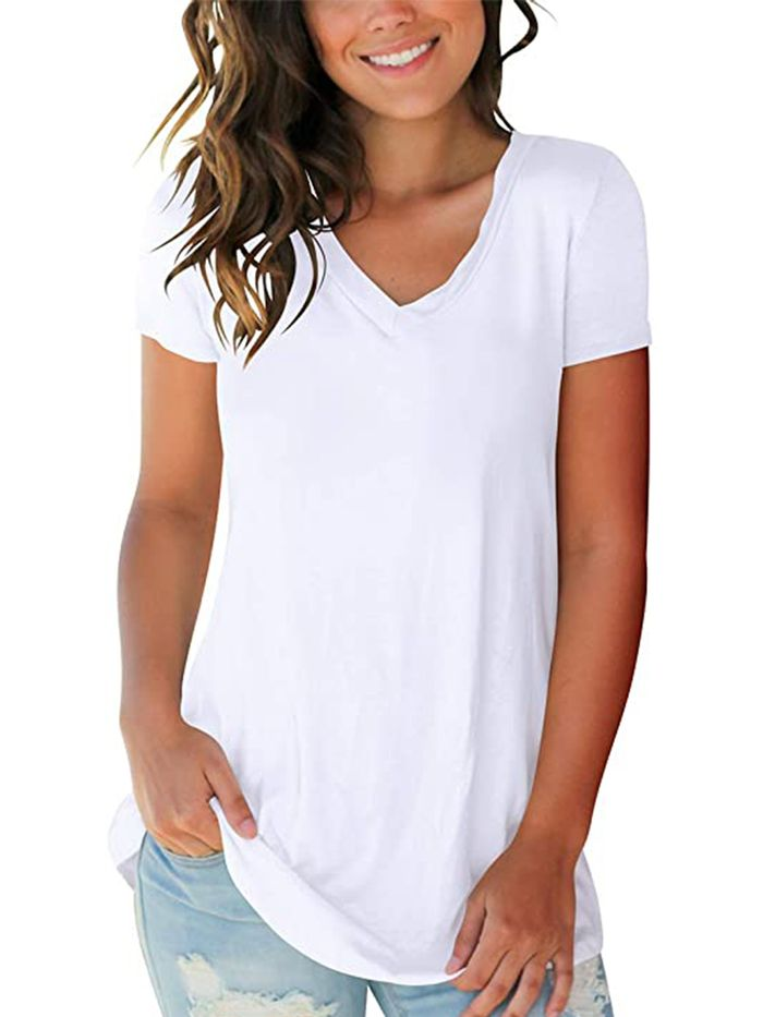 Ladies Tops and Blouses Long Sleeve Womens Loose Top Basic T-Shirt Casual Short Sleeve Tunic Tops Blouse Shirt