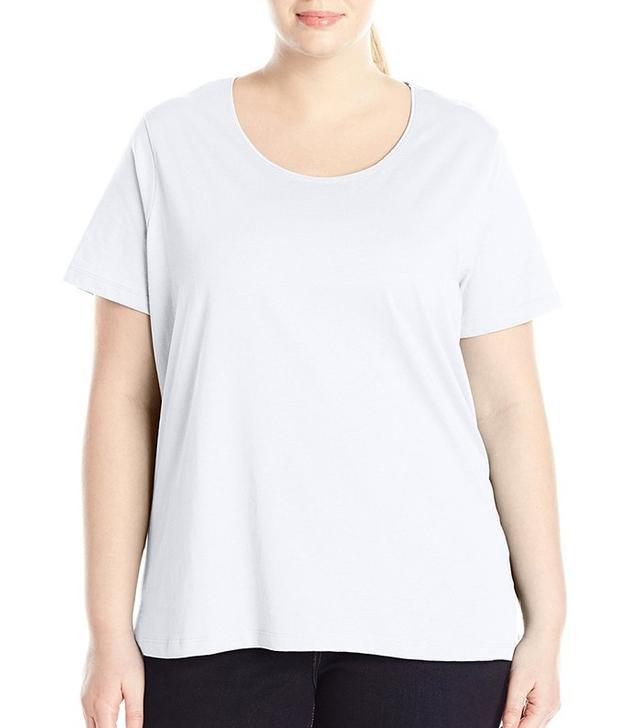 Fresh Women's Plus-Size Basic Short Sleeve Solid Scoop Neck Top