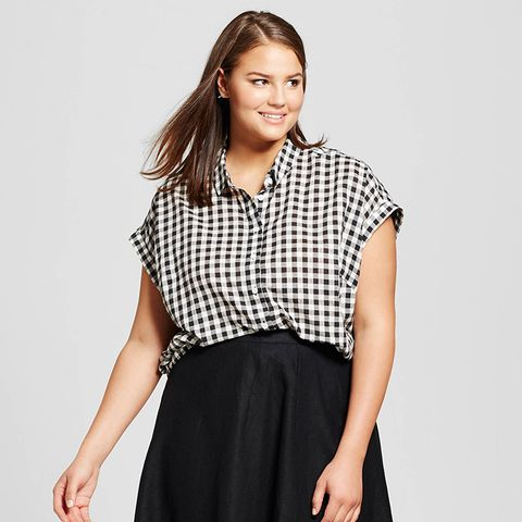 Gathered Hem Top in Black Gingham