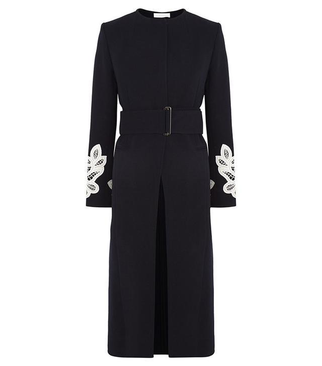 Victoria Beckham Belted Appliquéd Wool and Cotton-Blend Coat