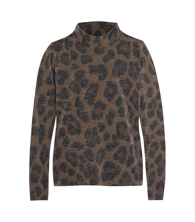 Topshop Unique Sidgwick Leopard-Print Jersey and Lurex Top