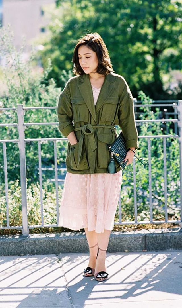 Army Jacket + Delicate Dress