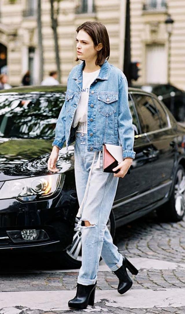 Denim Jacket + Ripped Jeans