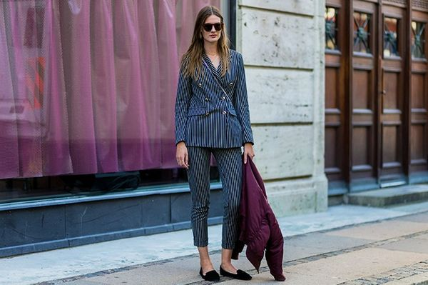 Style Notes: Suits make up a pretty big part of the Copenhagen girl's wardrobe right now—especially when worn so casually without a top.