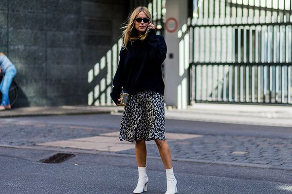 Style Notes: Pernille Teisbaek's nonchalant take on a flirty skirt has us interested: those Vêtements boots make another appearance, a black outsize sweatshirt gets smartened up with...