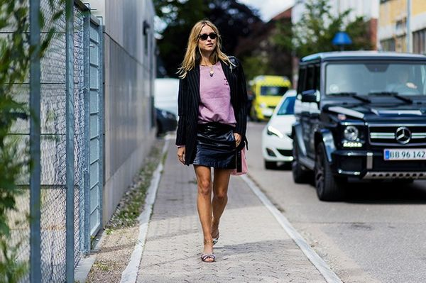 Style Notes: Another hour, another killer look from Pernille. She offsets the sassiness of Miu Miu's Crystal-Embellished Satin And Shearling Mules(£665) and a patent miniskirt with a...