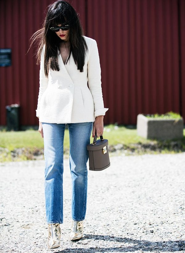 Style Notes:Evangelie Smyrniotaki of styleheroine.comalso found herself a great white jacket—this one was swiped straight off the By Malene Birgerrunway and looks...