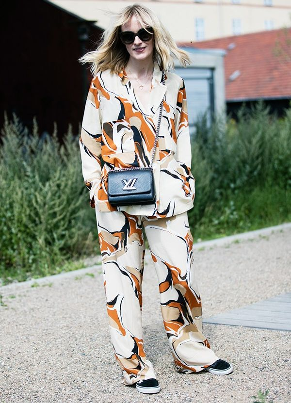 Style Notes: Pajama dressing was a key trend both on and off the runways at CPHFW. Here blogger Marie Hindkaer-Wolthers of Blame It On Fashiondoes the idea justice in a printed two-piece...