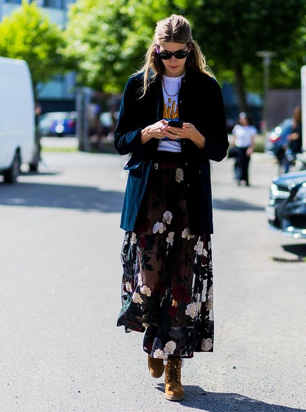 Style Notes: Veronika Heilbrunner doing what she does best—taking a really pretty piece and making it fit for a tomboy. HerGanni skirt and tee, plus a velvet jacket are now on our A/W...