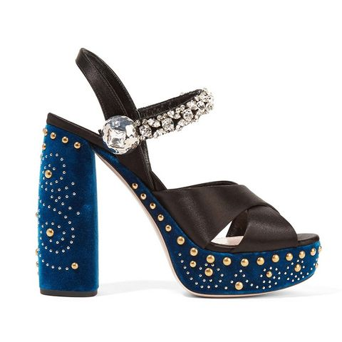 Embellished Satin and Velvet Platform Sandals