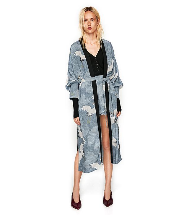Zara Heron Print Kimono