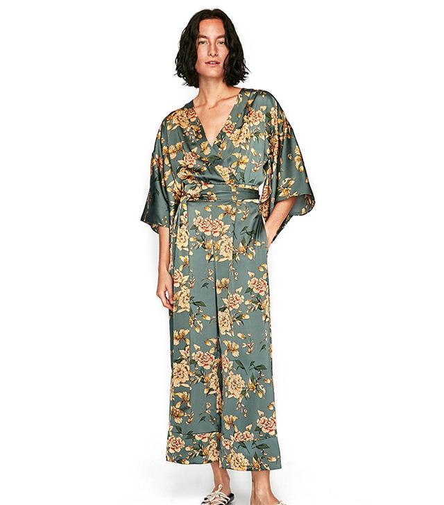 Zara Printed Kimono Jumpsuit