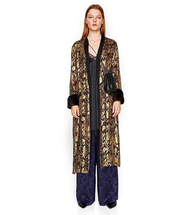 Zara Shiny Silk Jacquard Kimono