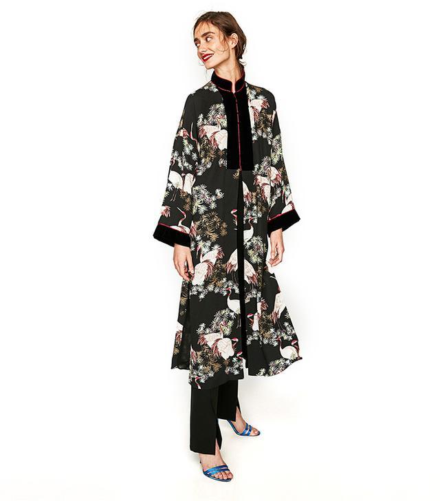 Zara Long Contrasting Kimono