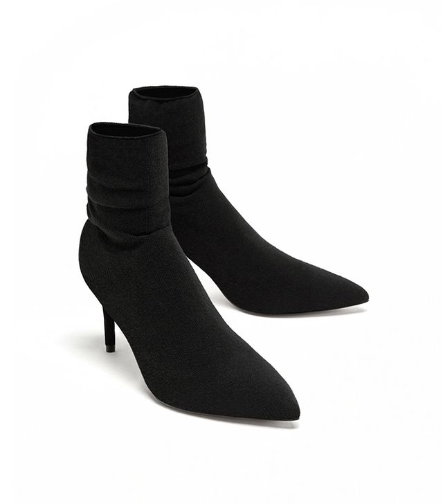 Zara High-Heel Sock-Style Ankle Boots