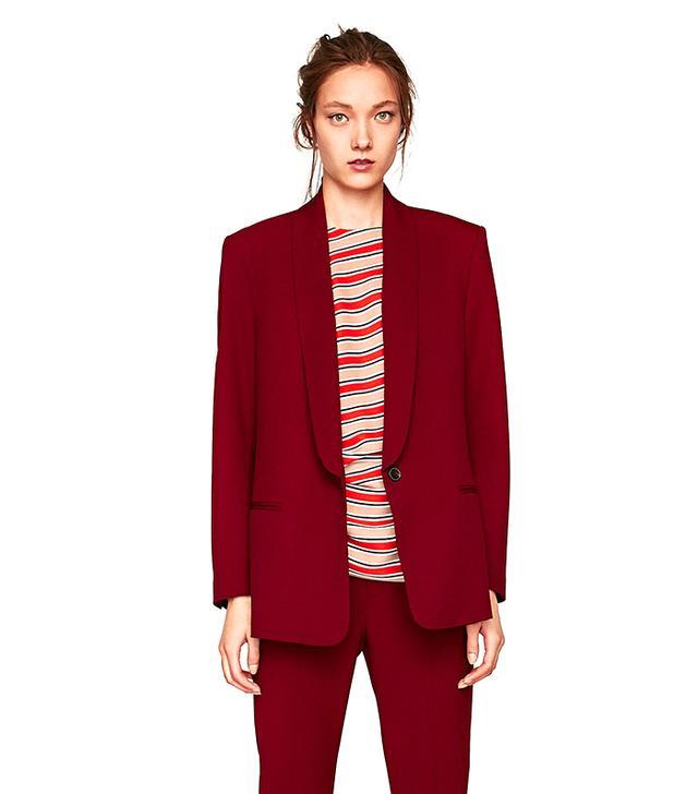 Zara Blazer With Tuxedo Collar