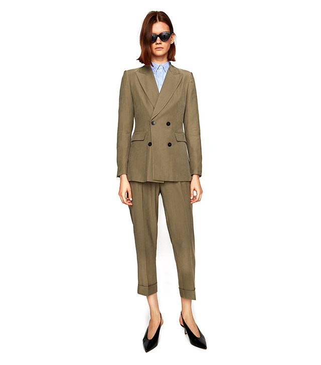 Zara Double-Breasted Casual Suit Jacket