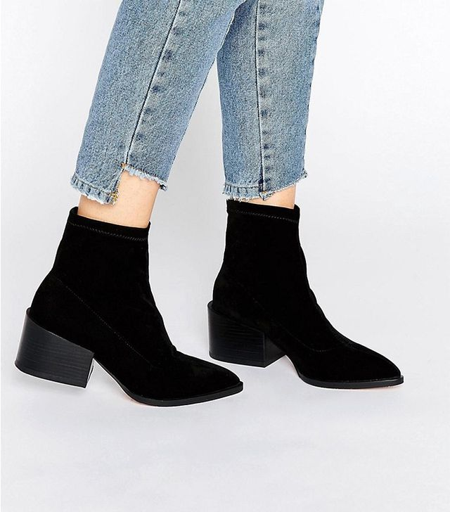 ASOS Rocco Pointed Velvet Sock Boots