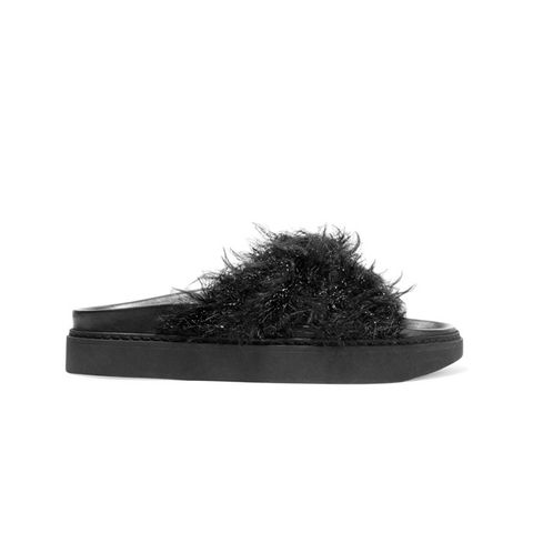 Leather and Faux Fur Slides