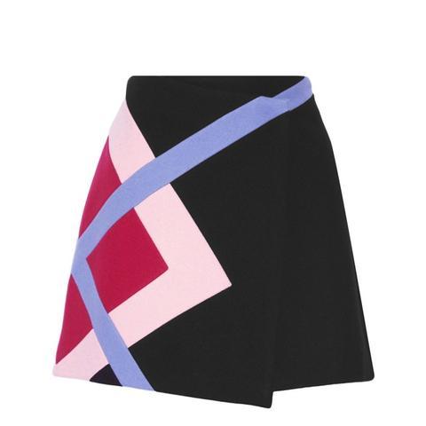 Color-block Wool-blend Felt Wrap Mini Skirt