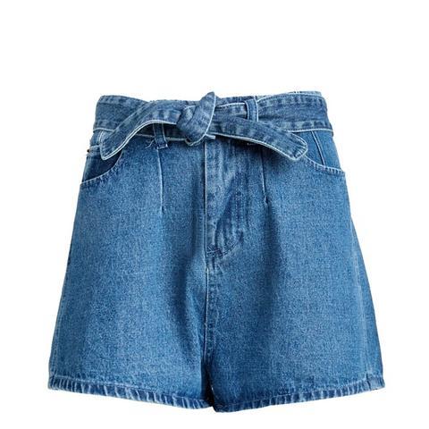 Waist Belt Tie Denim Shorts
