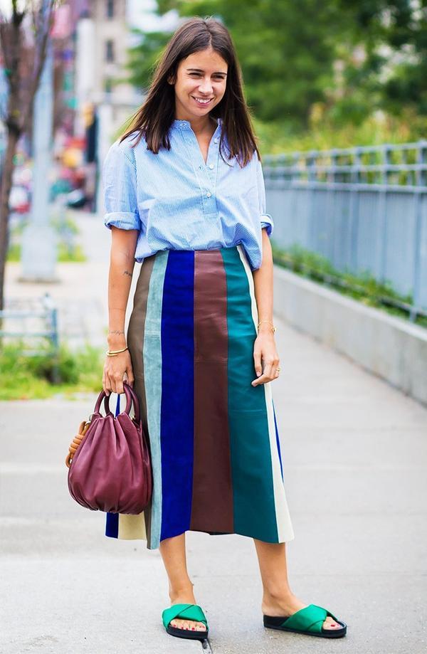 Blouse + Striped Skirt