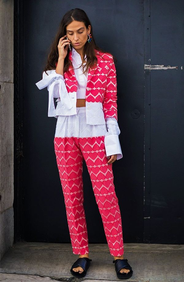 Bright Suit + Statement Earrings