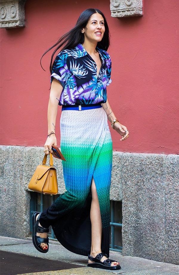 Hawaiian Shirt + Midi Skirt