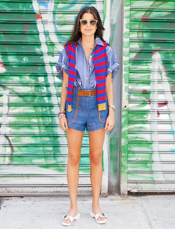 Sweater + Striped Button-Down + Denim Shorts