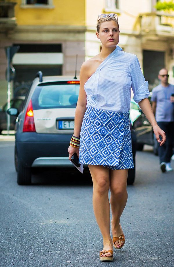 Updated Button-Down + Graphic Mini Skirt