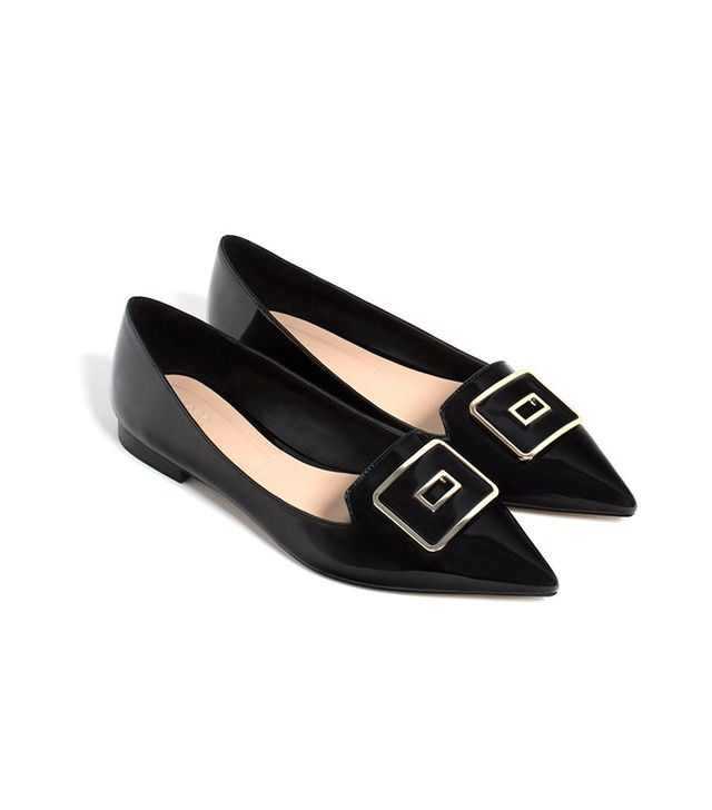Zara Pointed Ballet Flats With Buckle