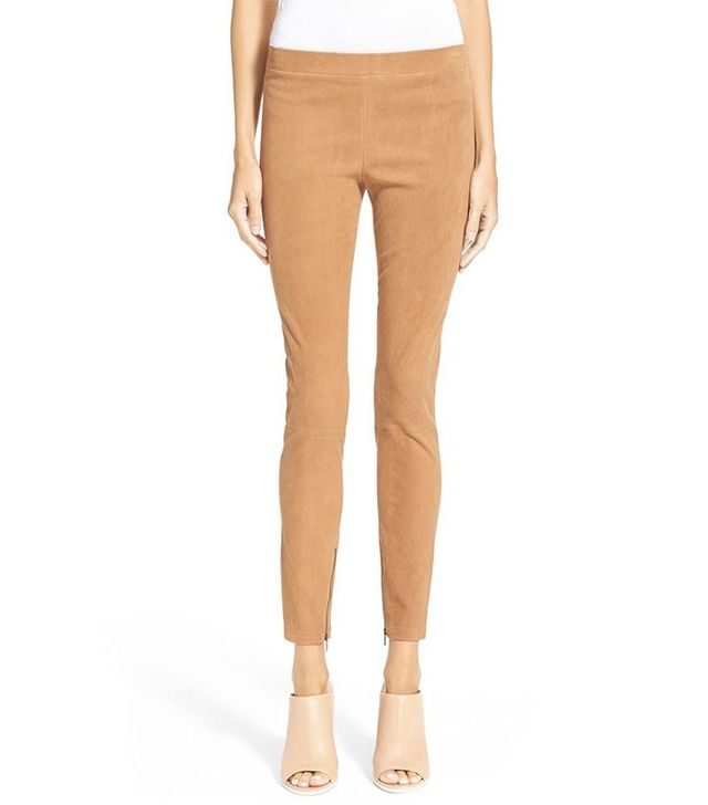 Vince Ankle Zip Suede Leggings