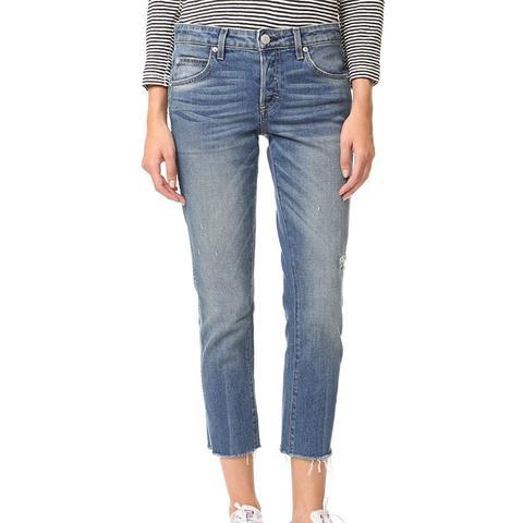 Women's Blue Tomboy Crop Frayed Edge Jeans